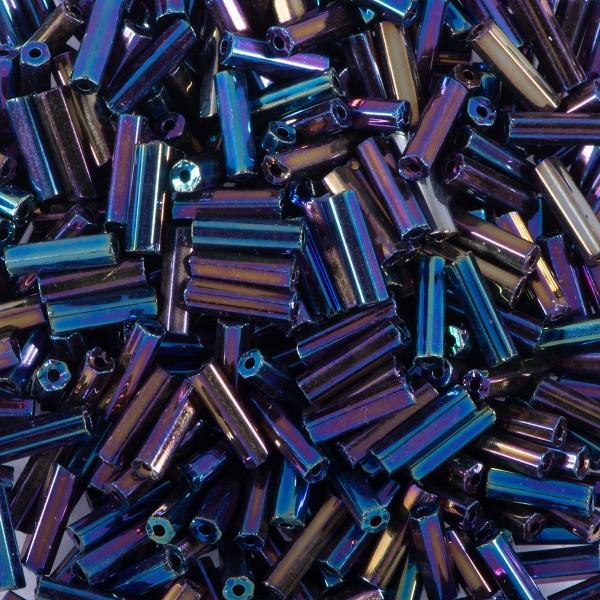 Glasstifte transparent 6mm 15g scarabe Silbereinzug, Lochgr. ca. 0,9mm