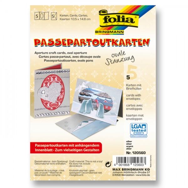Passepartoutkarten DIN A6 5 St. oval silber inkl. Kuvert&Einlegeblatt, 220g/m²