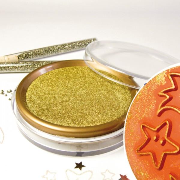 Stempelkissen Ø 9cm gold wasserlösliche Farbe