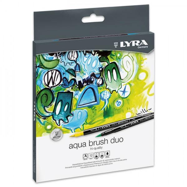 Aqua Brush Duo 12 Fasermaler/Pinselmaler mit Pinselspitze & Malspitze