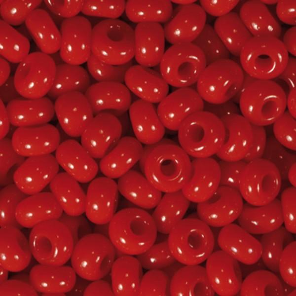 Rocailles satt glänzend 2,6mm 17g rot Glas, Lochgr. ca. 0,7mm