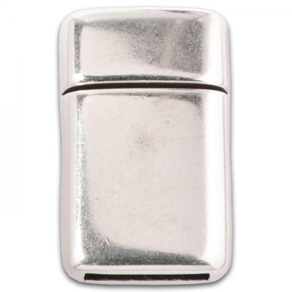 Magnetverschluss Rechteck 22x18x5mm altplatinf. für Band 10x2mm, zum Kleben, Metall