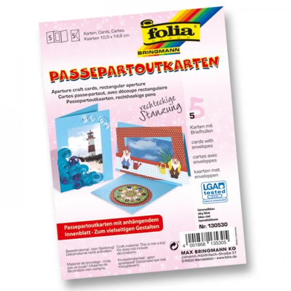 Passepartoutkarten DIN A6 5 St Rechteck himmelblau inkl. Kuvert&Einlegeblatt, 220g/m²