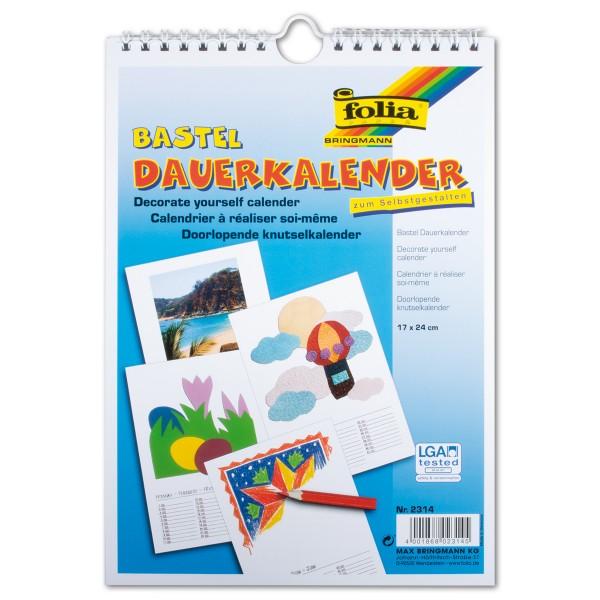 Dauerkalender Papier 17x24cm 13 Bl. weiß/schwarz 220g/m²