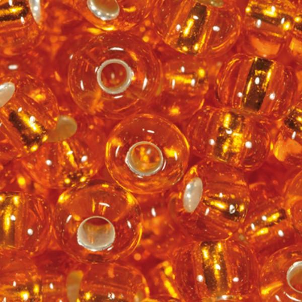 Rocailles transparent 4,5mm 17g orange Silbereinzug, Glas, Lochgr. ca. 1mm