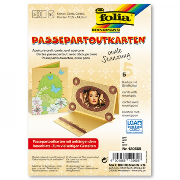 Passepartoutkarten DIN A6 5 St. oval gold inkl. Kuvert&Einlegeblatt, 220g/m²