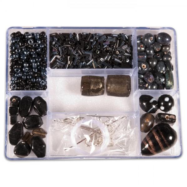 Glasperlen-Box ca. 2-30mm ca. 140g schwarzton inkl. Zubehör, Lochgr. ca. 0,7-1,5mm