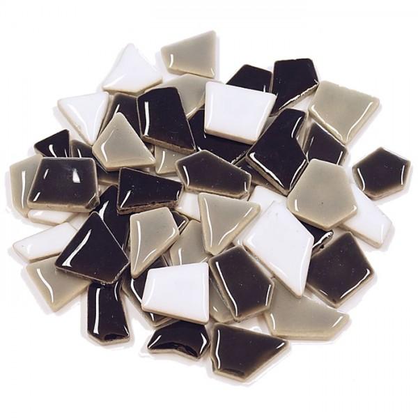 Flip-Keramik Mini 500g ca. 400 Steine grau mix 5-20mm, ca. 4mm