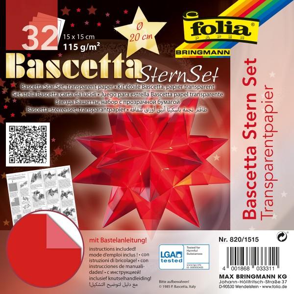 Bascetta-Stern ca. Ø 20cm 32 Bl. rot 15x15cm, Transparentpapier, 115g/m²
