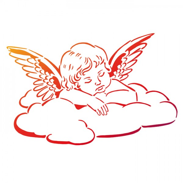 Universal-Schablone DIN A4 Engel auf Wolke Kunststoff