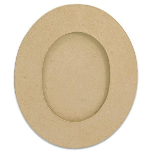 Bilderrahmen oval Pappe 23,5x30x0,8cm natur von Décopatch, Bildausschnitt 12x16cm, Aufhänger