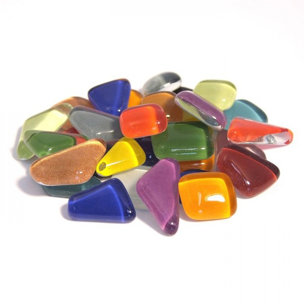 Mosaik Soft-Glas polygonal 1kg bunt mix 5-20mm, 4mm stark, ca. 650 Steine