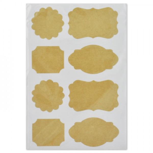 Kraftpapier-Sticker 3-5cm 40 St. natur 4 Motive, selbstklebend