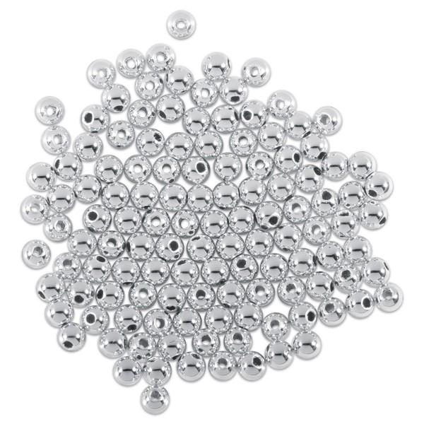 Metallicperlen glänzend 3mm 125 St. silberfarben Kunststoff, Lochgr. ca. 0,9mm