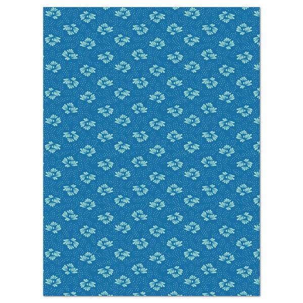 Decoupagepapier blau mit Blüten von Décopatch, 30x40cm, 20g/m²