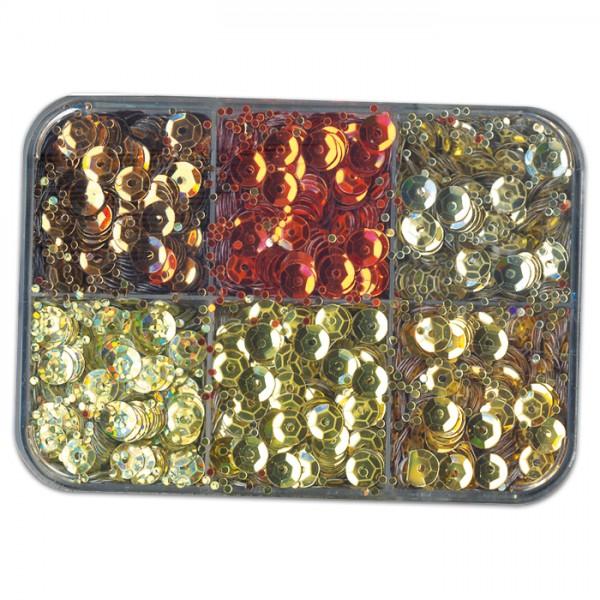 Pailletten 6,5mm 50g gold/braun/rot Kunststoff