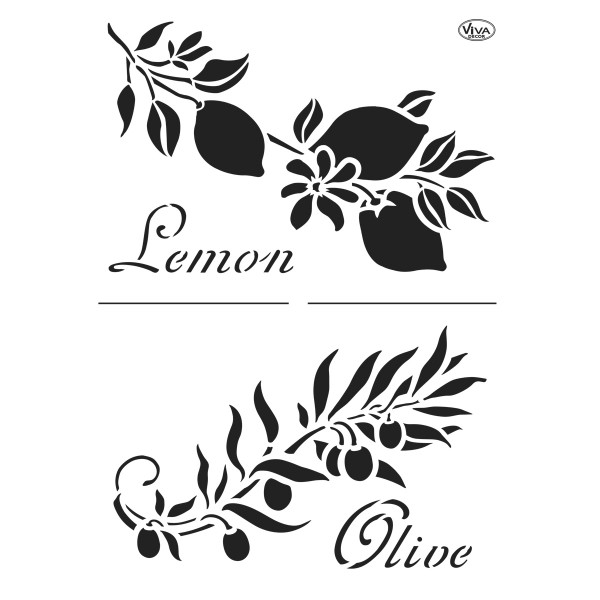 Universal-Schablone DIN A4 Zitrone & Olive Kunststoff