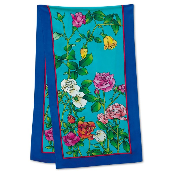 Schal Gutta schwarz ca.145x45cm Roses 100% Seide Pongé 09, naturweiß