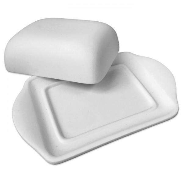 Butterdose Rohkeramik 20x12x6cm weiß brennbar bis 1.050°C