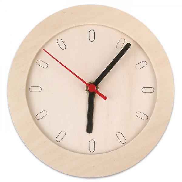 Uhr rund Sperrholz 6mm 15cm natur inkl. Uhrwerk & Zeigern