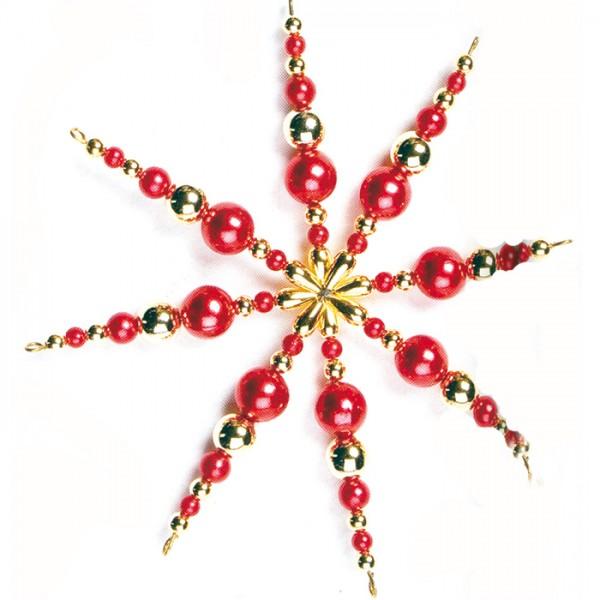 Kreativset Perlenstern ca. 12cm rot-goldfarben Bastelset, Kunststoff/Metall