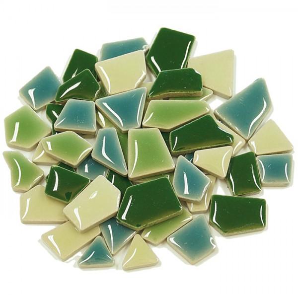 Flip-Keramik Mini 500g ca. 400 Steine grün mix 5-20mm, ca. 4mm