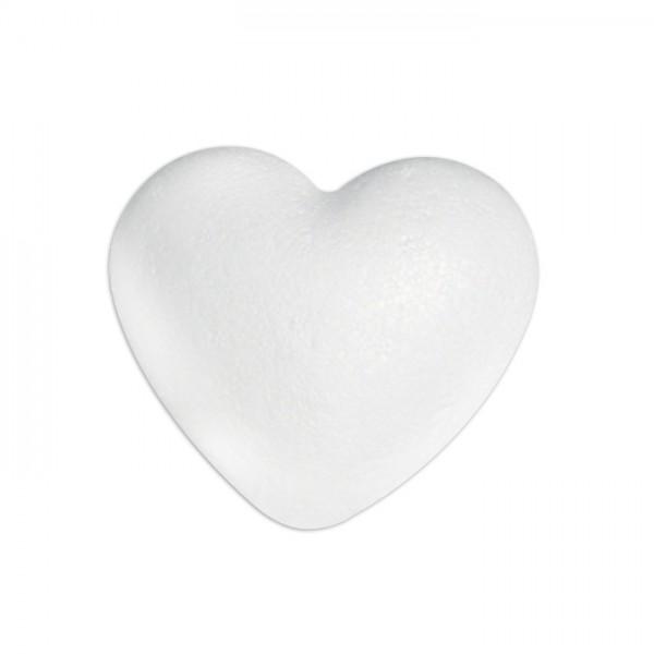 Styropor-Herz gewölbt voll weiß 9cm