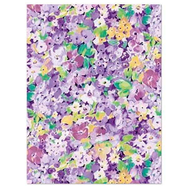 Decoupagepapier Blumenwiese lila/gelb/grün von Décopatch, 30x40cm, 20g/m²