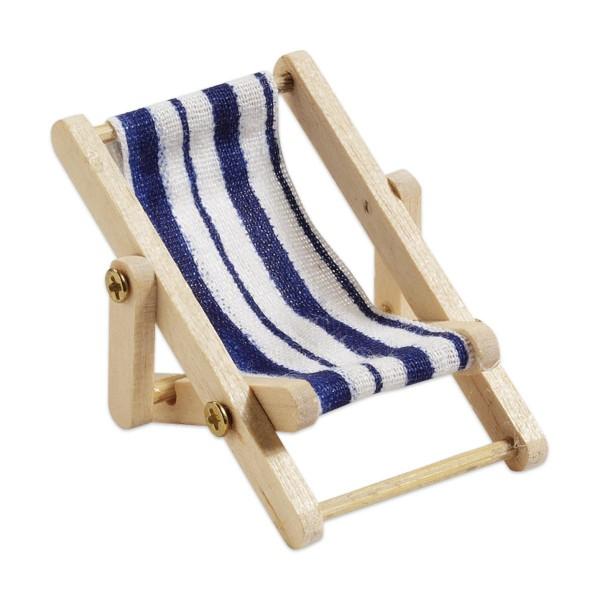 Liegestuhl Holz/Stoff 50x35mm blau/weiß