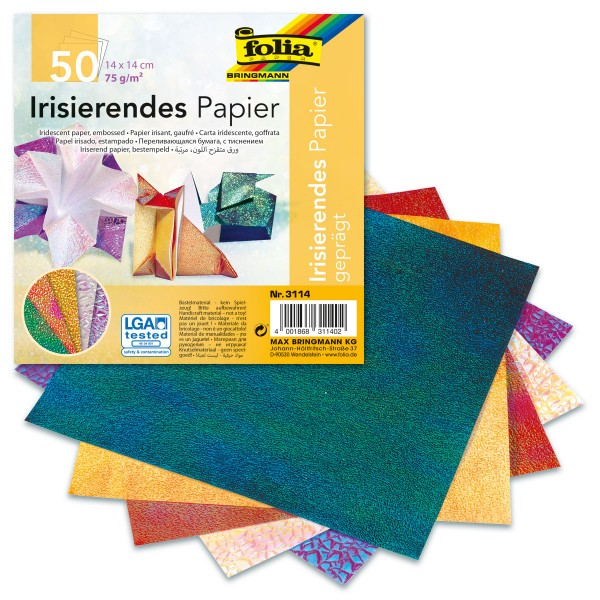Faltblätter aus irisierendem Papier 14x14cm 50 Bl. bunt 75g/m², 2 Prägungen