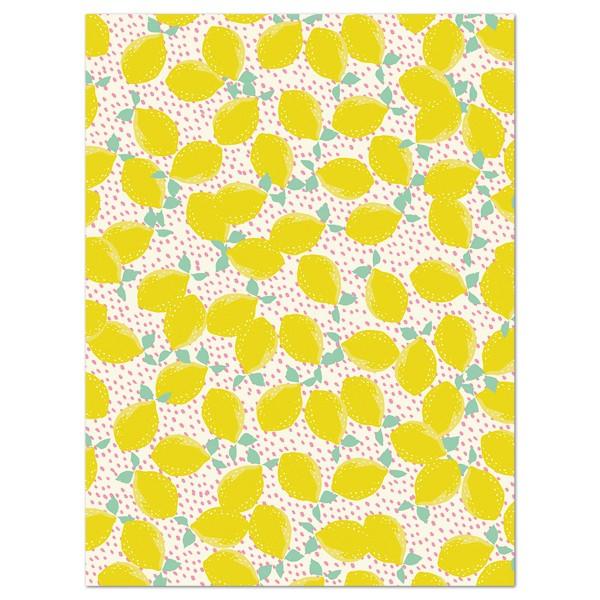 Decoupagepapier Zitronen weiß/gelb/grün von Décopatch, 30x40cm, 20g/m²