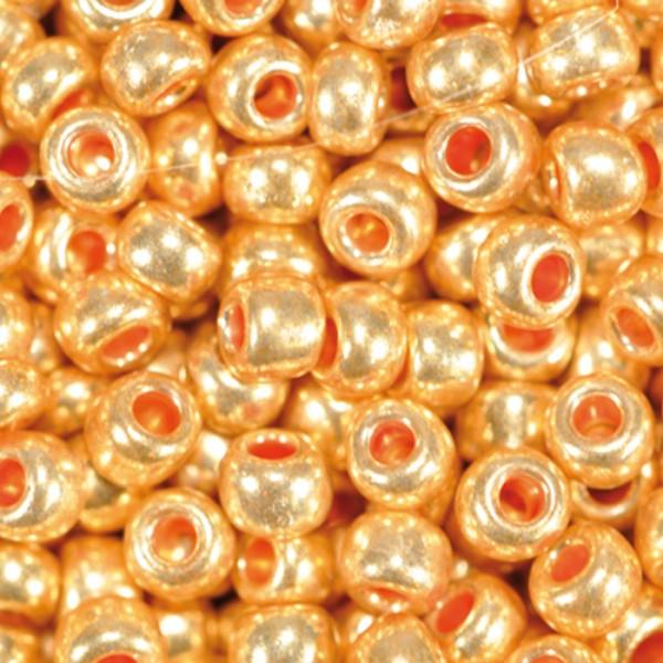 Rocailles metallic glänzend 2,6mm 17g goldfarben Glas, Lochgr. ca. 0,9mm