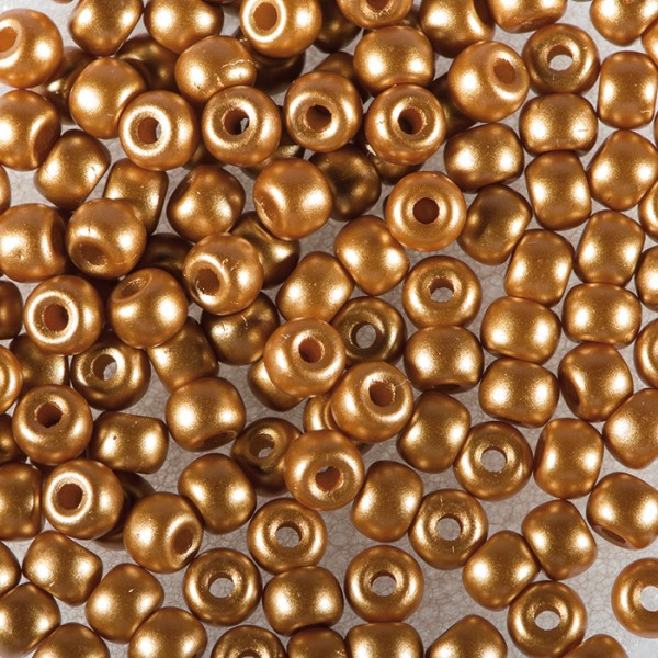 Rocailles DeluXes seidenmatt 3mm 4g hellbraun ca. 120 St., Glas, Lochgr. ca. 0,8mm