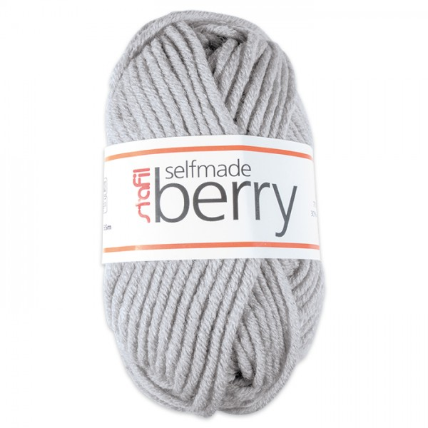 Wolle Berry 6-7mm 50g hellgrau melange 70% Polyacryl, 30% Wolle