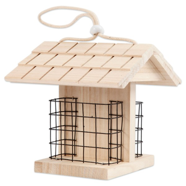 Vogelfutterstation Holz/Metall 11,5x13,5x17,5cm natur