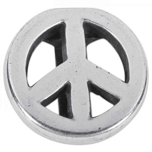 Metallteil Peace 17mm altplatinfarben mit Steg f. Bänder 2,5x10mm