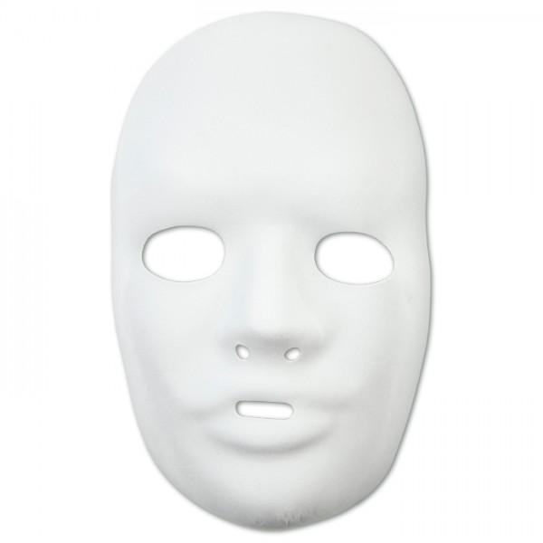 Maske Gesicht ca.15,5x24cm weiß Kunststoff m. Veloursoberfläche, inkl. Band