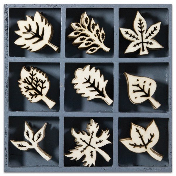 Mini-Holzornamente Blätter 45 St. natur 23-30mm