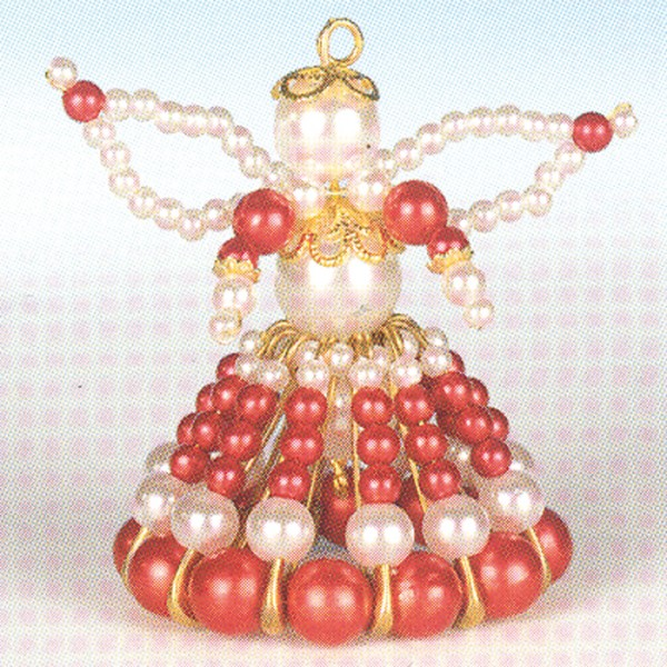 Kreativset Perlenengel ca. 7cm rot-goldfarben Bastelset, Kunststoff/Metall
