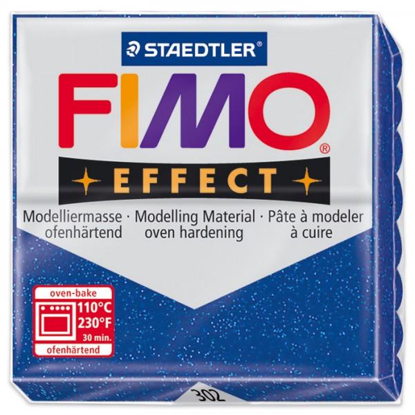 FIMO effect 55x55x15mm 57g glitter blau ofenhärtende Modelliermasse