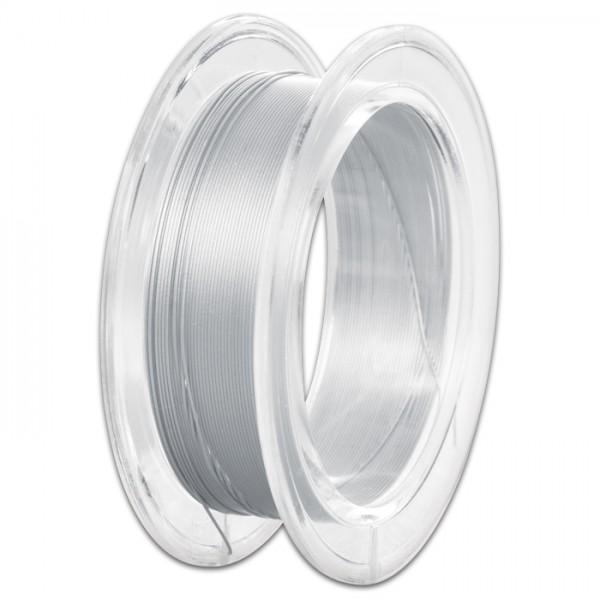 Edelstahldraht 0,4mm 10m perlsilberf./perl silver nylonummantelt