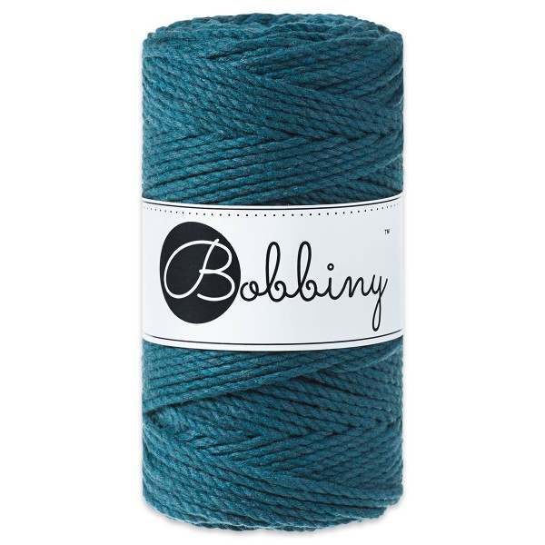 Bobbiny 3PLY Makramee-Kordel Ø3mm peacock blue ca. 300g-400g, 100% Baumwolle, LL 100m, 3x20 Fasern