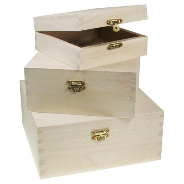 Quadratdosen Holz Metallverschluss 3er-Set natur h8cm 17,5x17,5cm, 14,5x14,5cm, h5,5cm 12,5x12,5cm