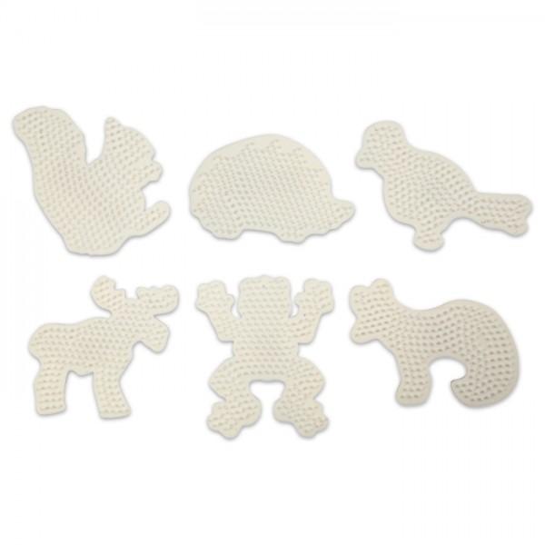 Nabbi Steckplatten Tiere ca. 13cm 6 St. weiß für Nabbi-Bügelperlen medium, Kunststoff