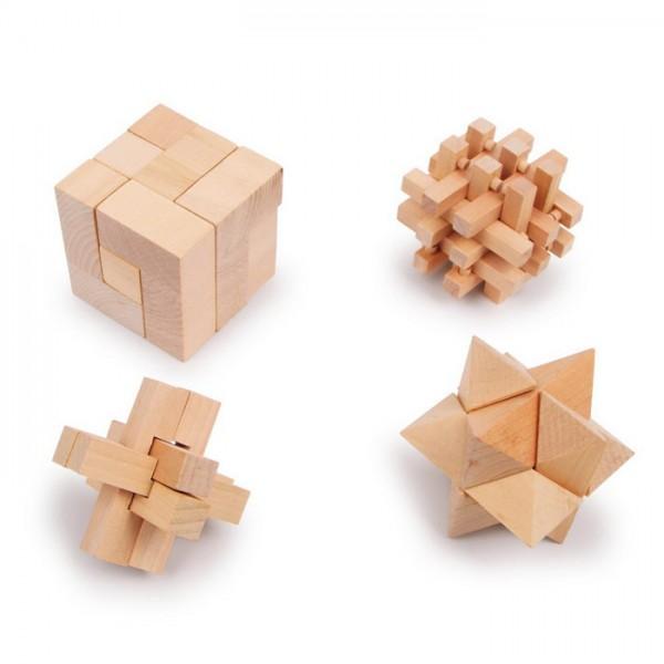 Geschicklichkeitsspiel Woody 4er-Set Holz, ca. Ø 6-6,5cm, ab 5 Jahren