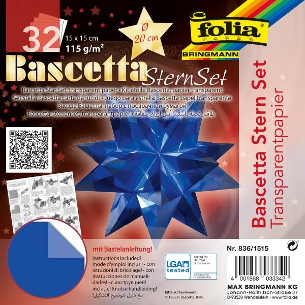Bascetta-Stern ca. Ø 20cm 32 Bl. blau 15x15cm, Transparentpapier, 115g/m²