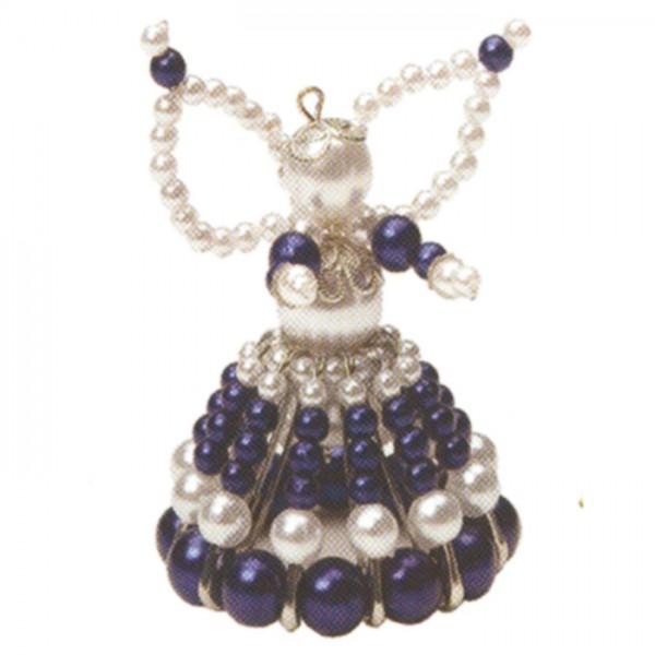 Kreativset Perlenengel ca. 7cm blau-silbfarben Bastelset, Kunststoff/Metall