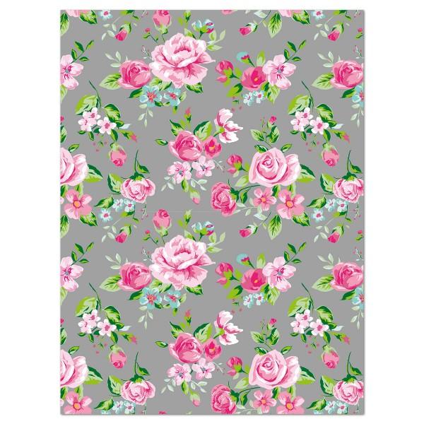 Decoupagepapier Blumen rosa/hl.blau/grün von Décopatch, 30x40cm, 20g/m²
