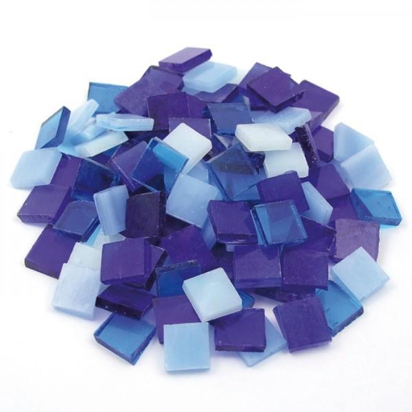 Tiffany-Glasmosaik 10x10x4mm opak blau-mix 200g, ca. 300 Steine