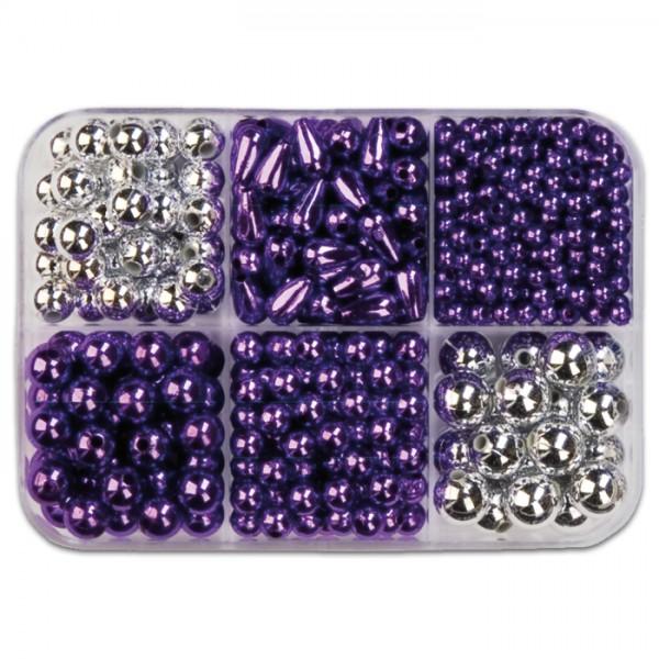 Metallicperlen-Box ca. 4-10mm ca.90g lila-silberf. Kunststoff, Lochgr. ca. 1-2mm